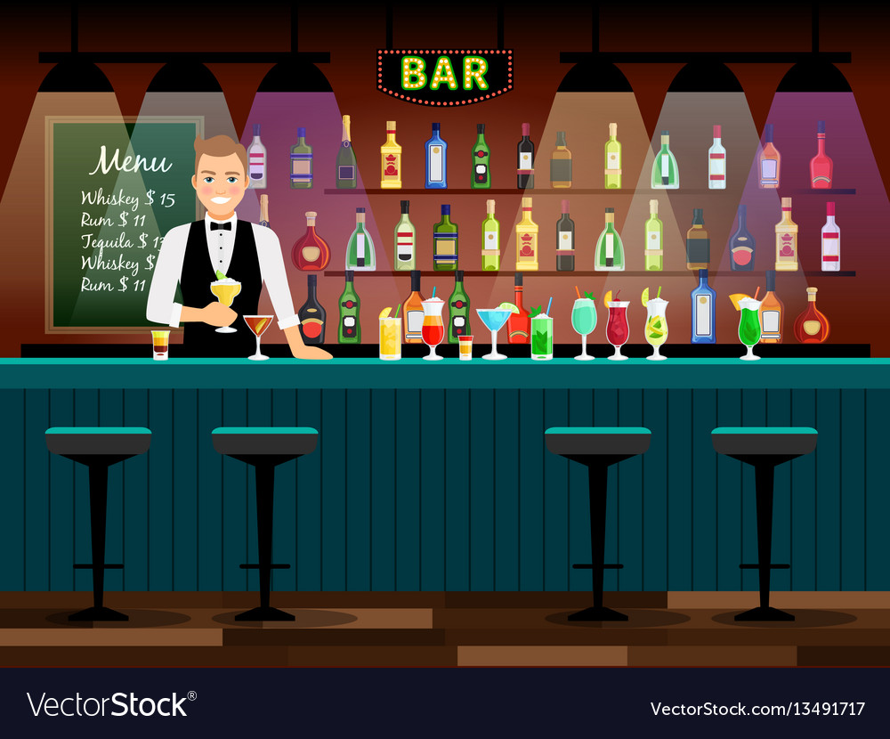 Bar counter with bartender