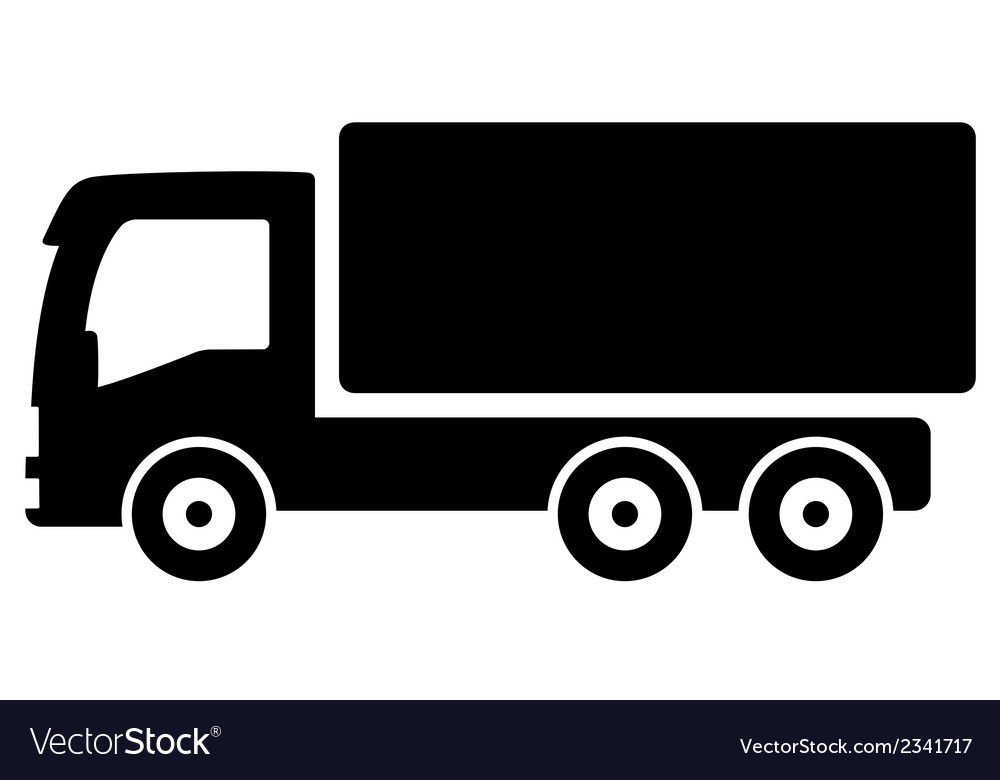 black lorry silhouette royalty free vector image