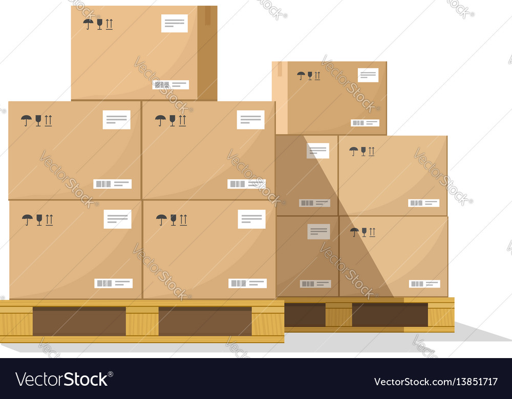 boxes on wooded pallet flat warehouse royalty free vector rh vectorstock com warehouse boxes exeter warehouse boxes exeter