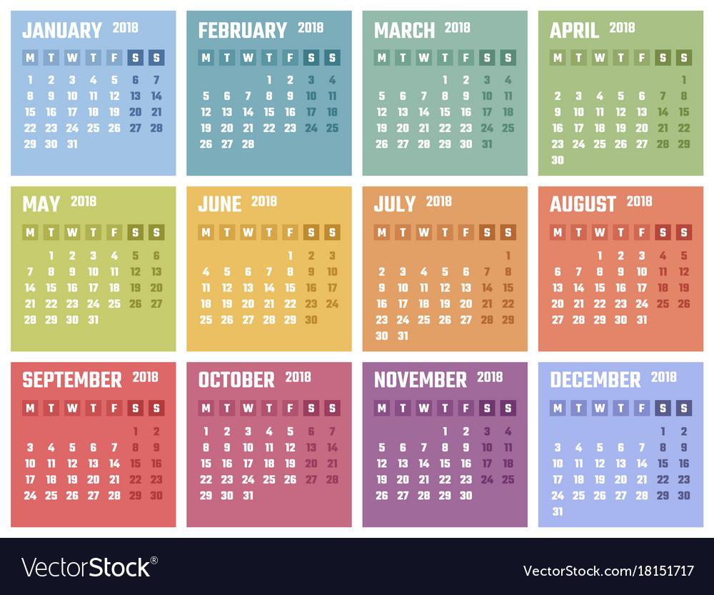 Calendar for 2018 starts monday calendar