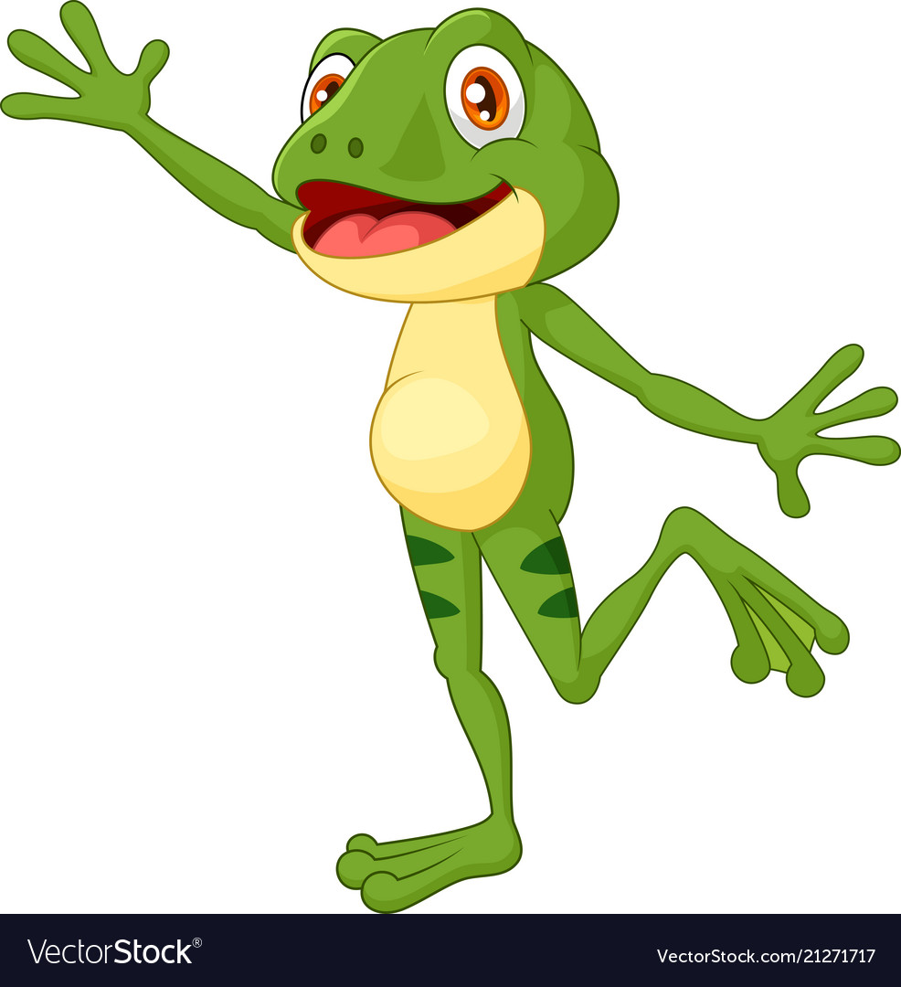 Cartoon cute frog waving hand with a face full of