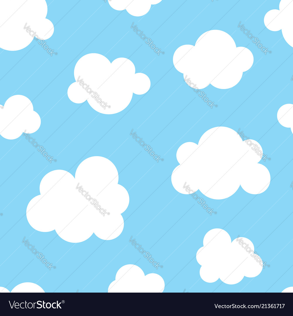 Cute baby seamless pattern with blue sky with