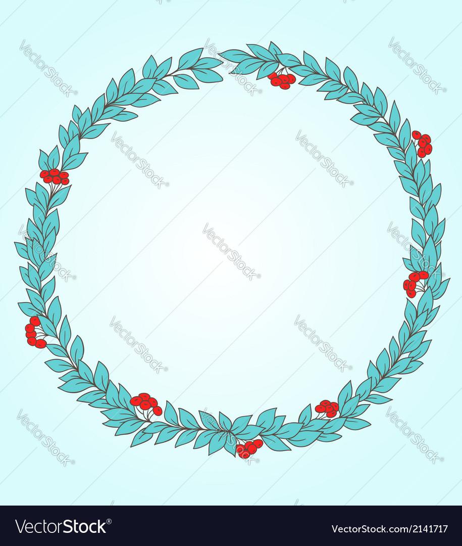 Decorative round floral frame vector image