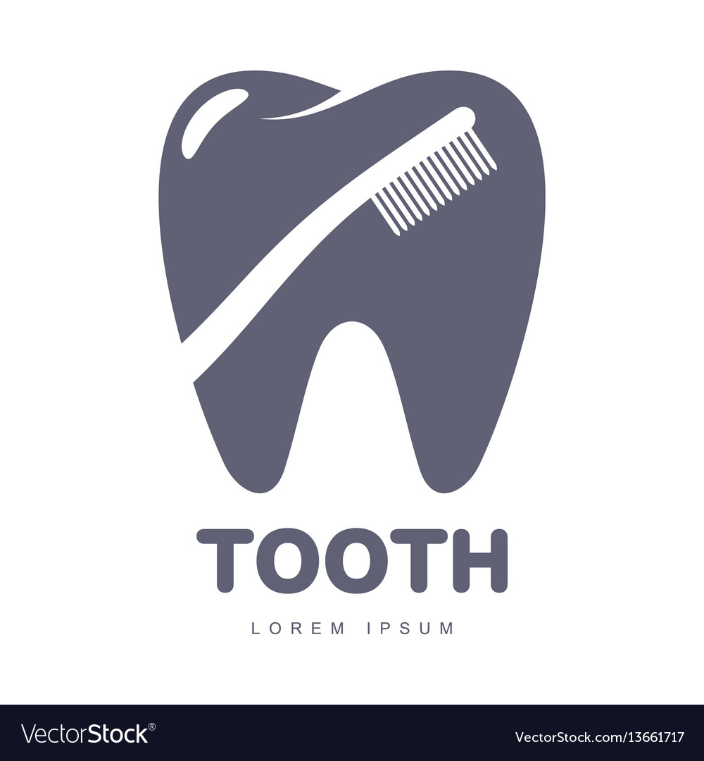 Dental care logo template with toothbrush