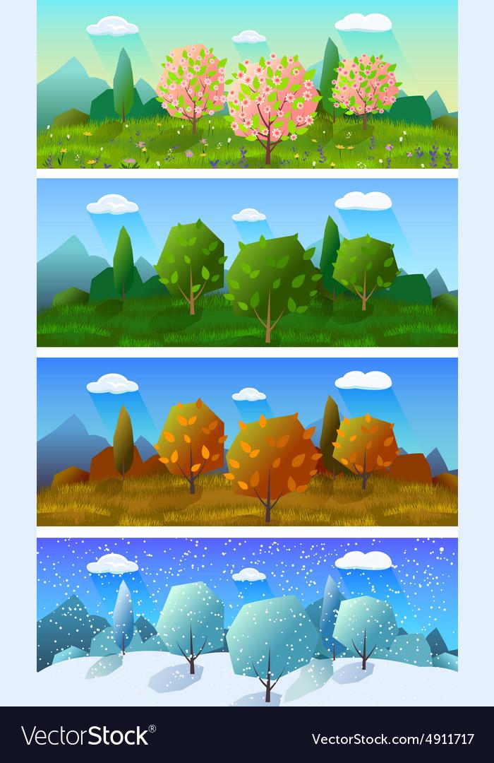 Four seasons landscape banners set vector image - Four Seasons Landscape Banners Set Royalty Free Vector Image