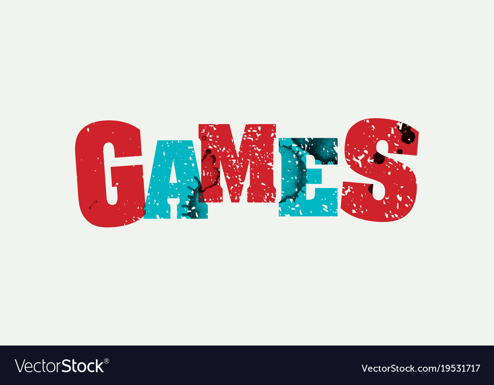 Games concept stamped word art