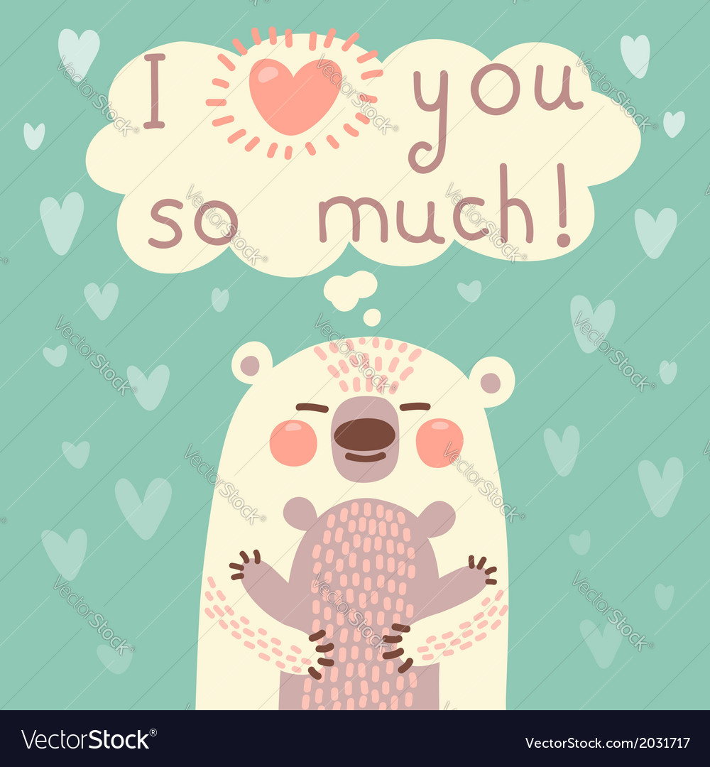 Greeting card for the bear mother and cub
