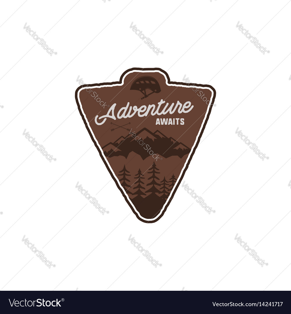 Hand drawn vintage camping badge and hiking label