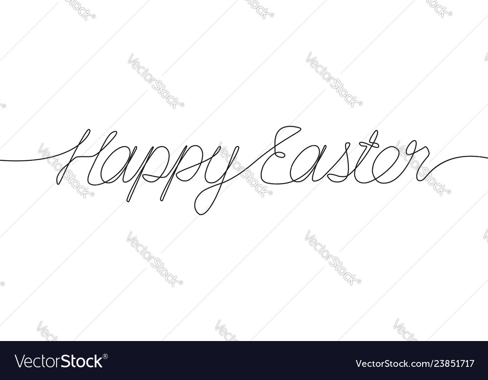 Happy easter one line inscription continuous line