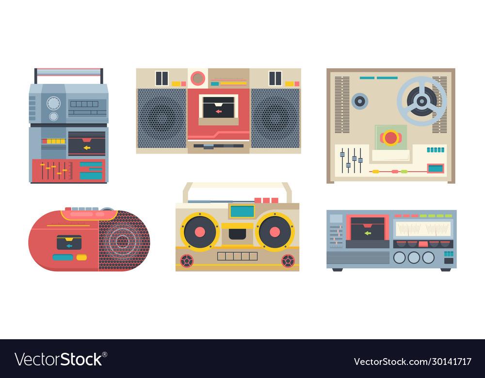 Music recorders retro 80s portable audio players