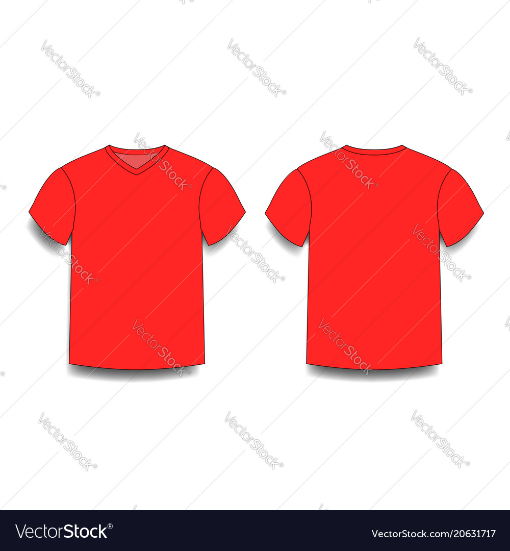 Red male t-shirt template v-neck front and back Vector Image 0d2f87dc37d2