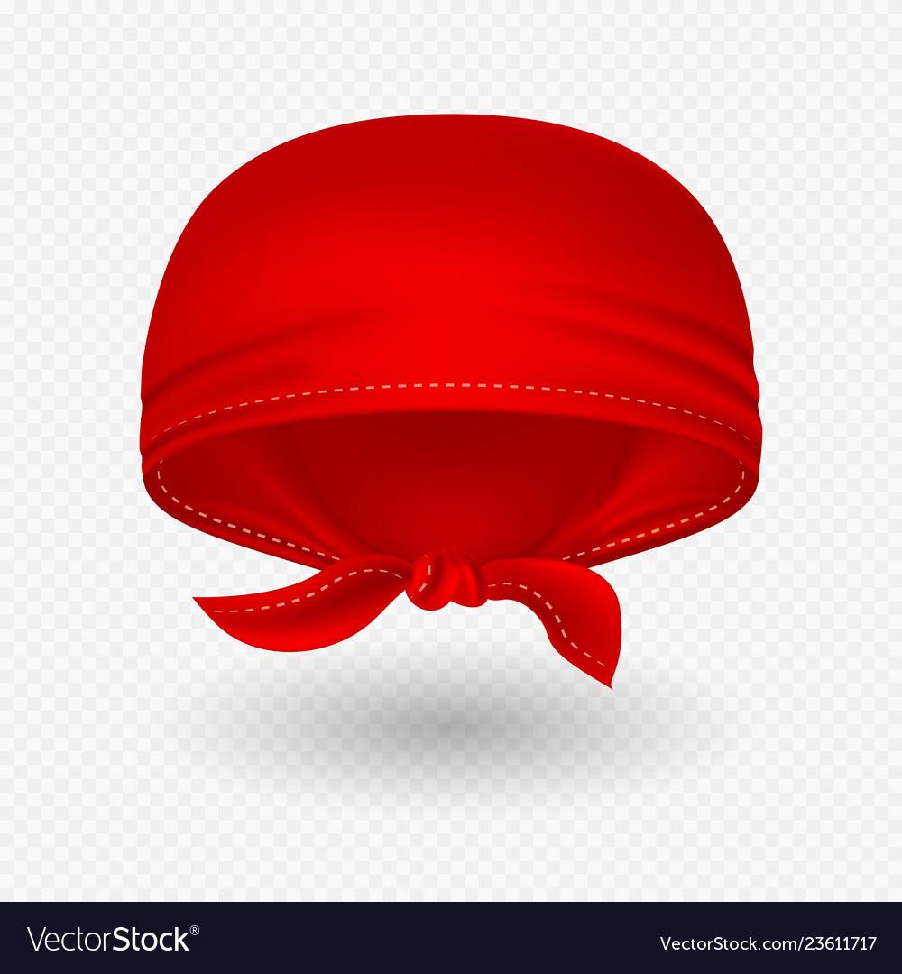 Red realistic head bandana
