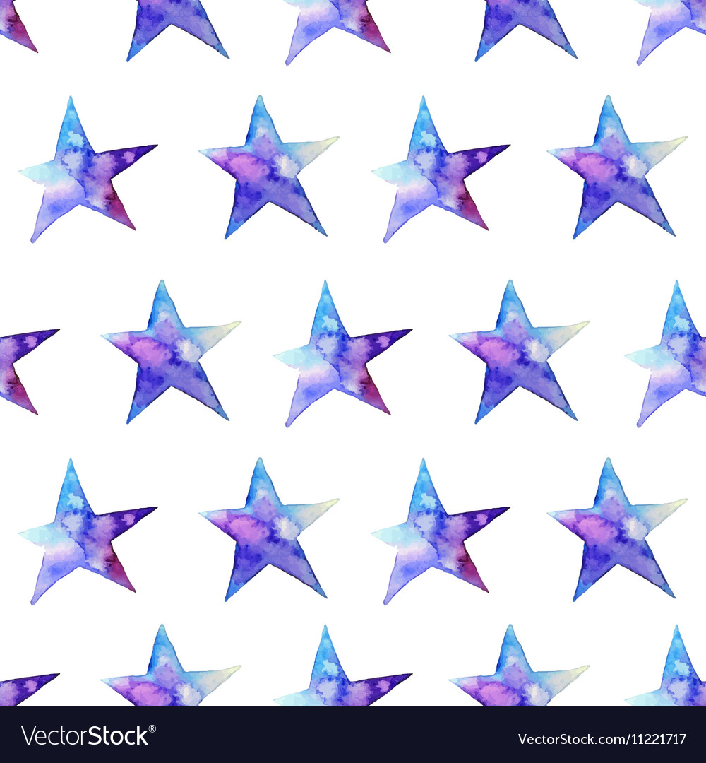 Seamless pattern of Colorful watercolor star icon