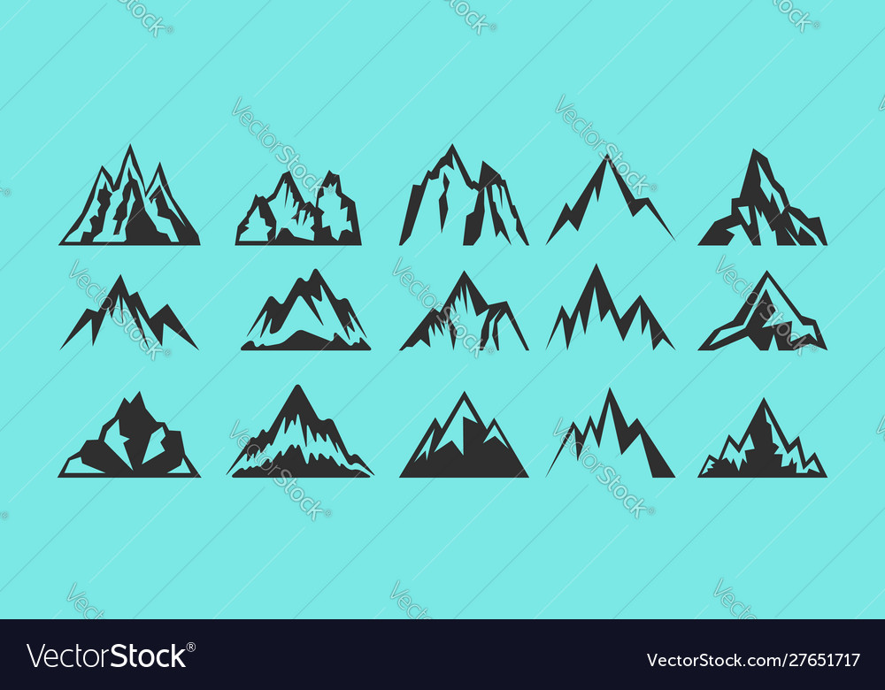 Set rocks and mountains silhouettes for logo