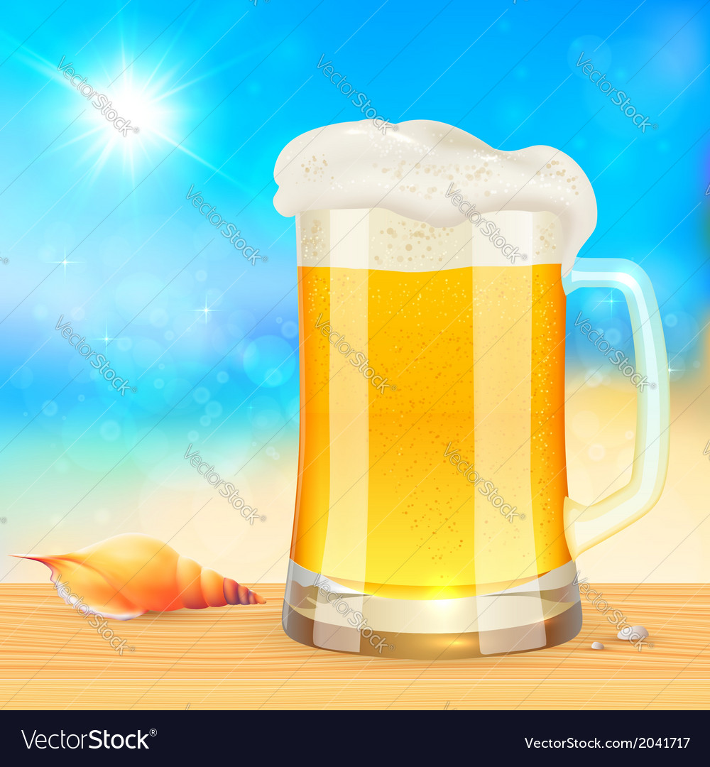 Summer mug of fresh beer on seascape background vector image