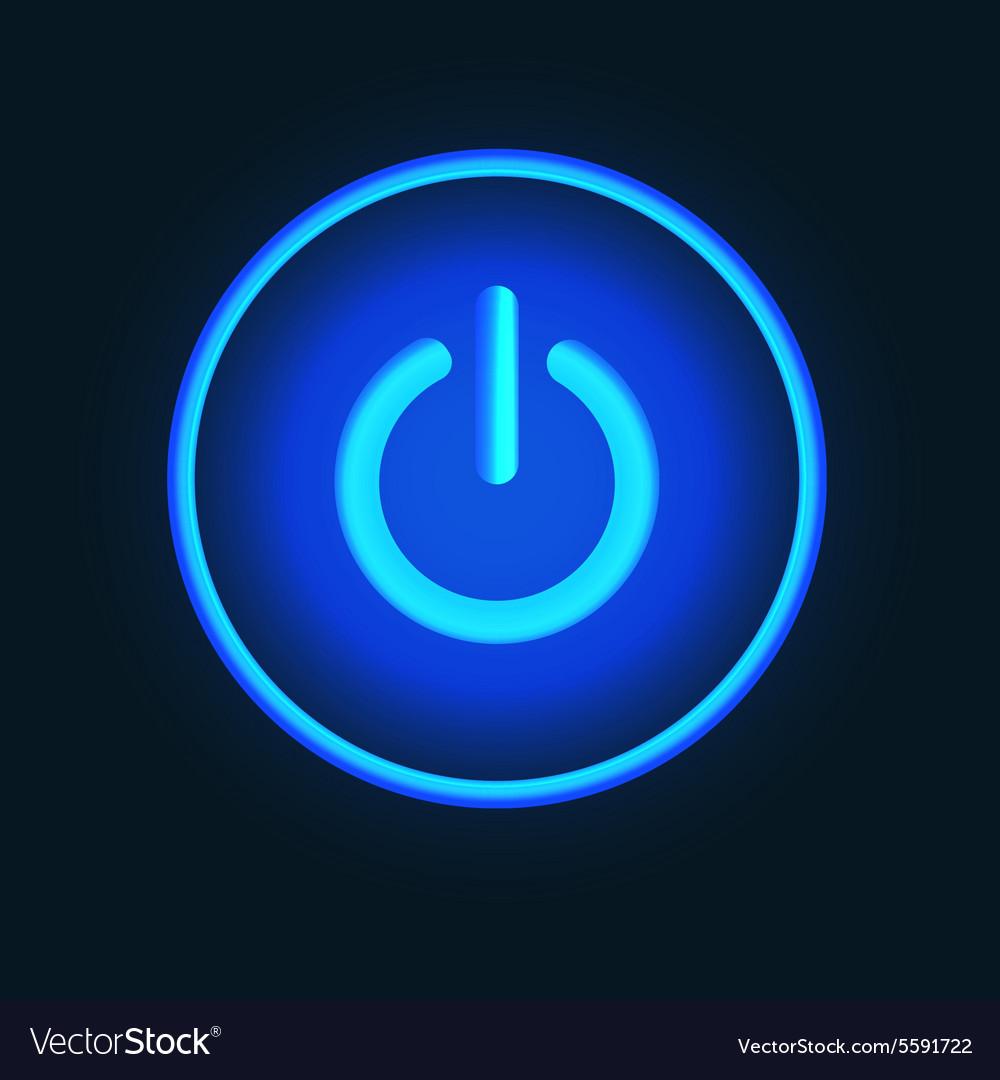 Blue neon button vector image