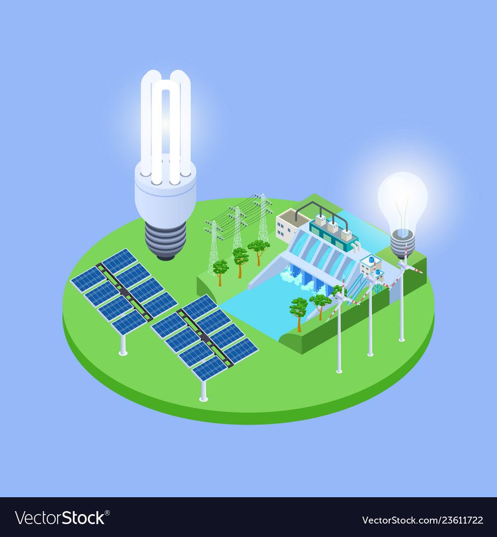 Ecological energy isometric with solar