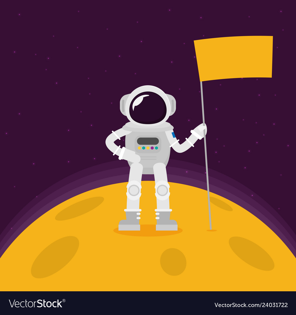 Flat Design Astronauts Float In Space Royalty Free Vector