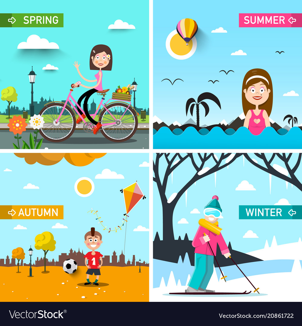 Four seasons landscapes with people spring summer vector image