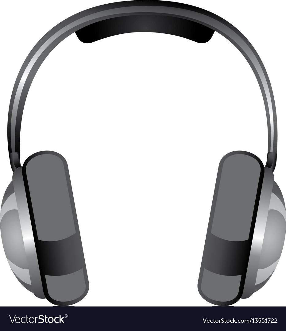 Gray headphones icon stock