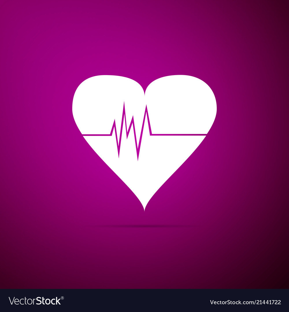 Heart rate icon isolated on purple background
