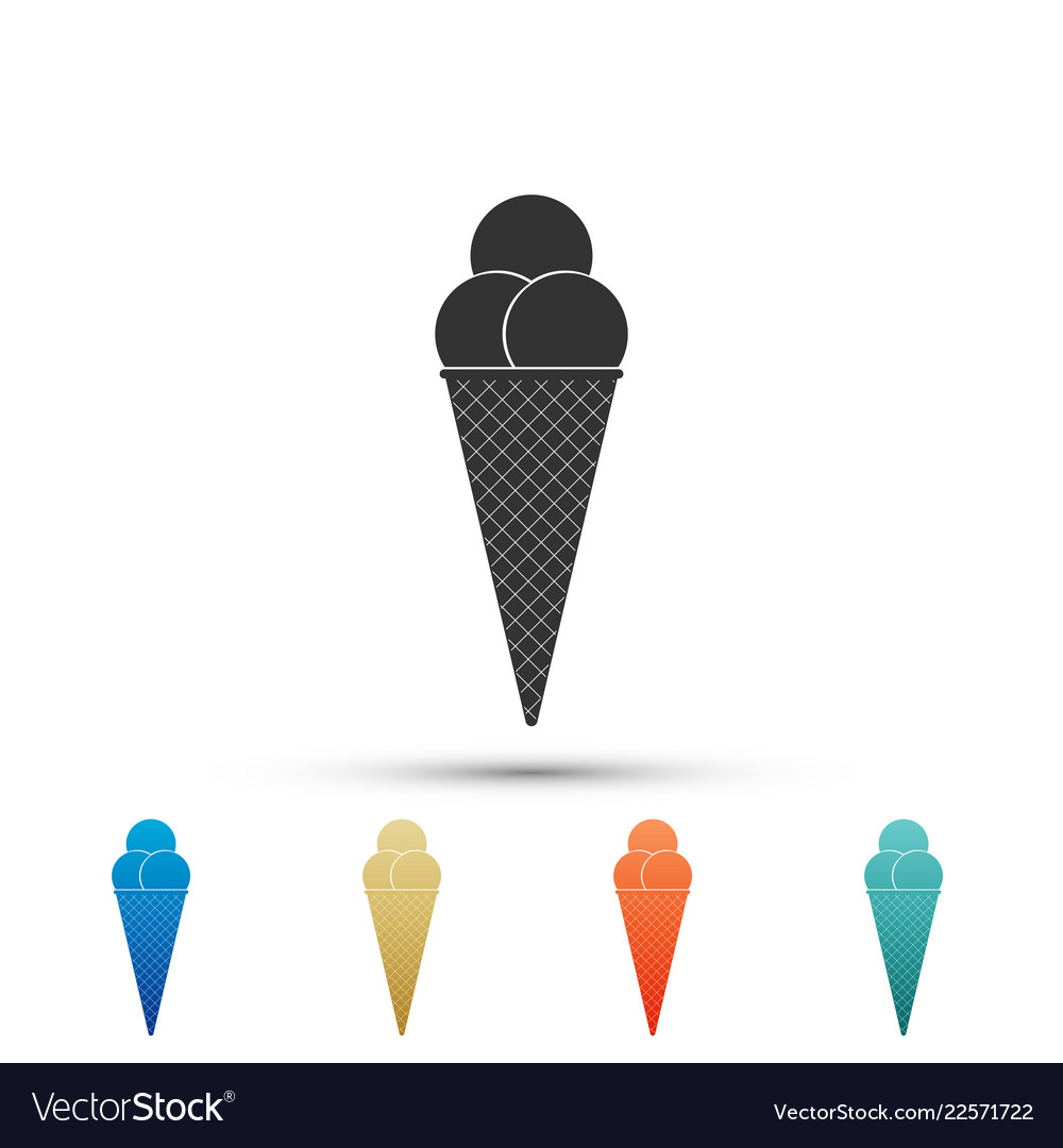 Ice cream in waffle cone icon on white background