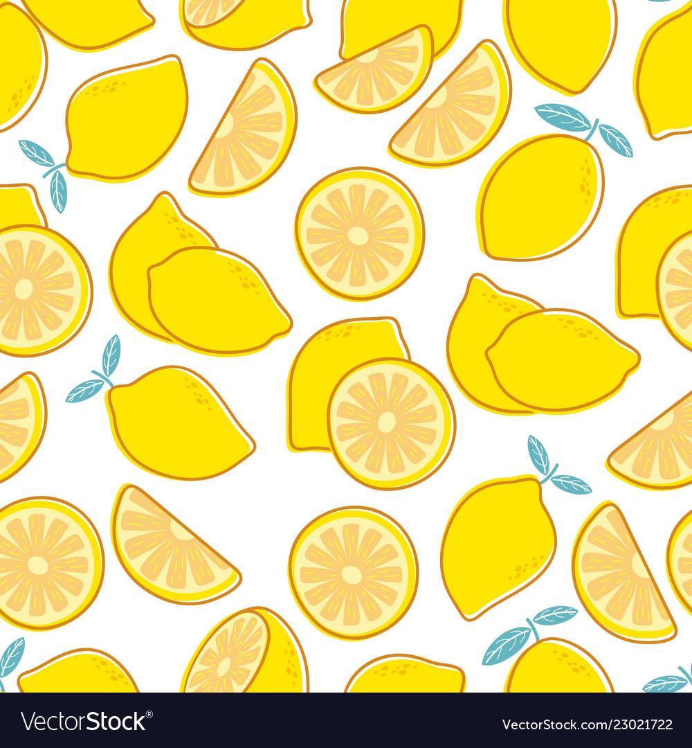 Lemon seamless pattern tropical citrus exotic