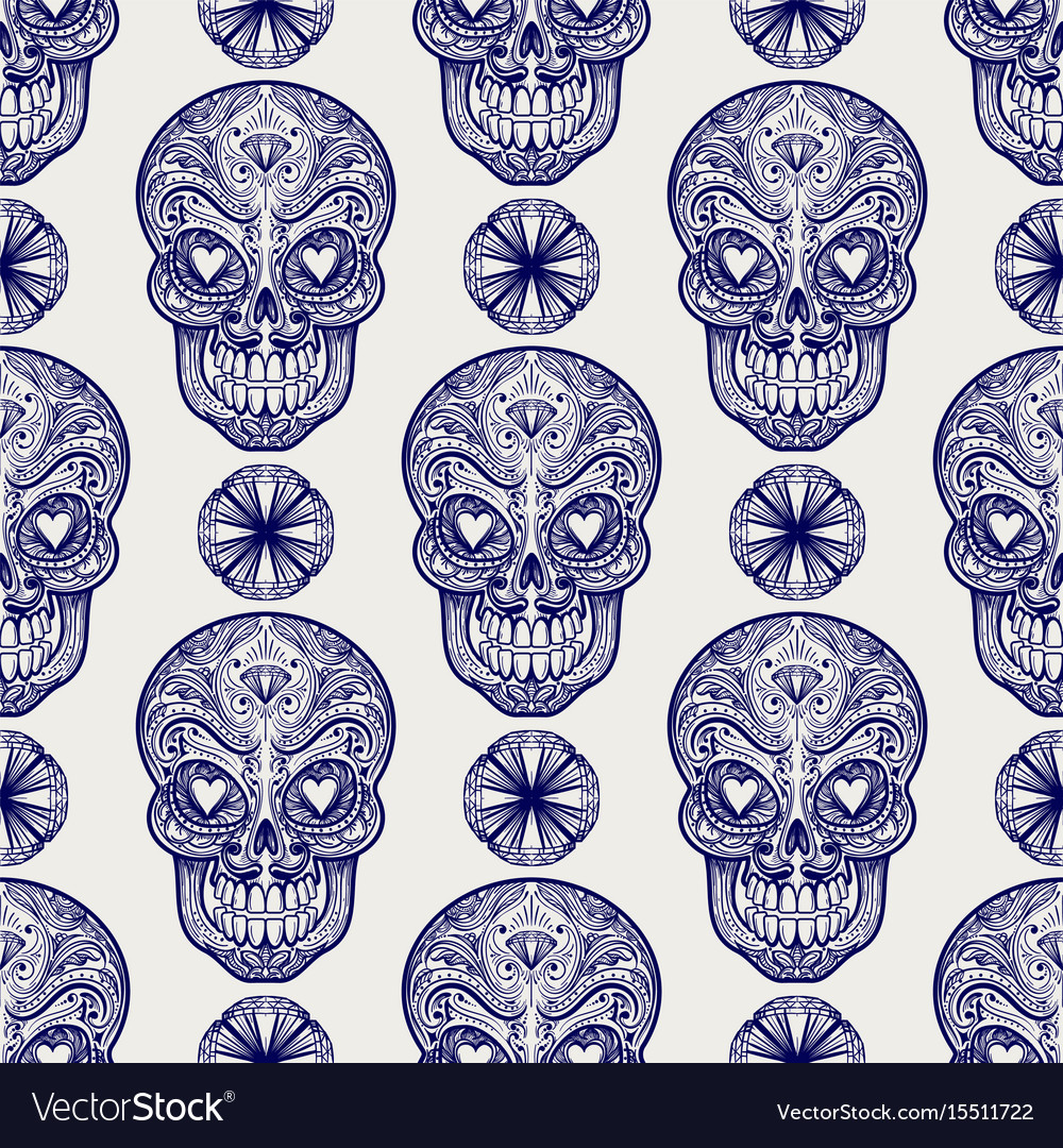 Mexican skull and diamonds seamless pattern