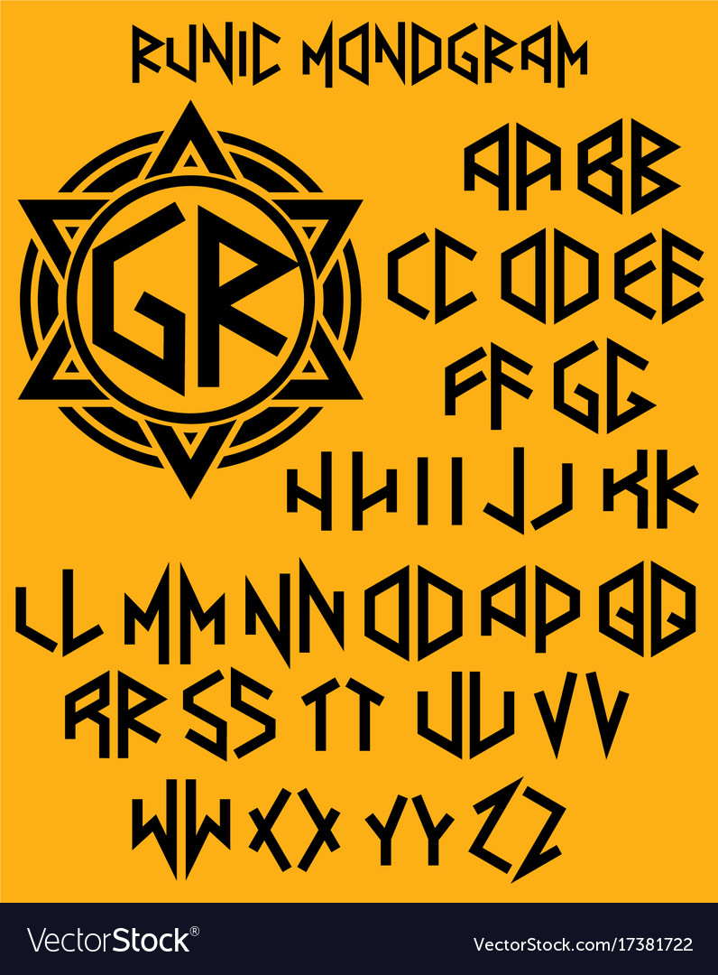 Monogram pattern with set of two-sided letters in