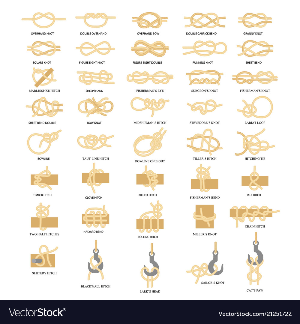 Nautical rope knots icon set