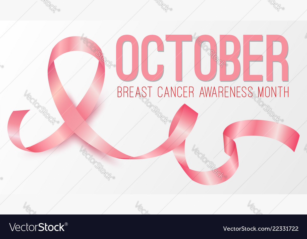 Realistic pink ribbon october breast cancer