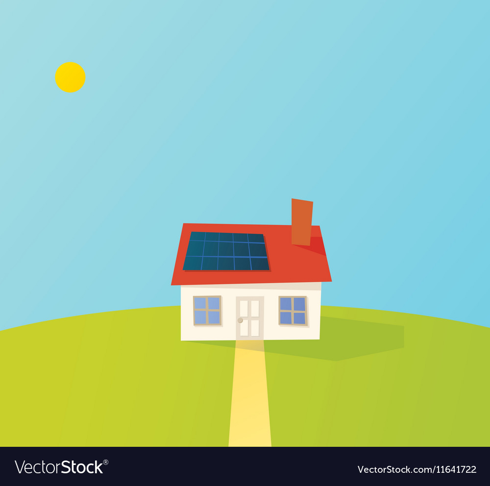 Solar powered cartoon house vector image