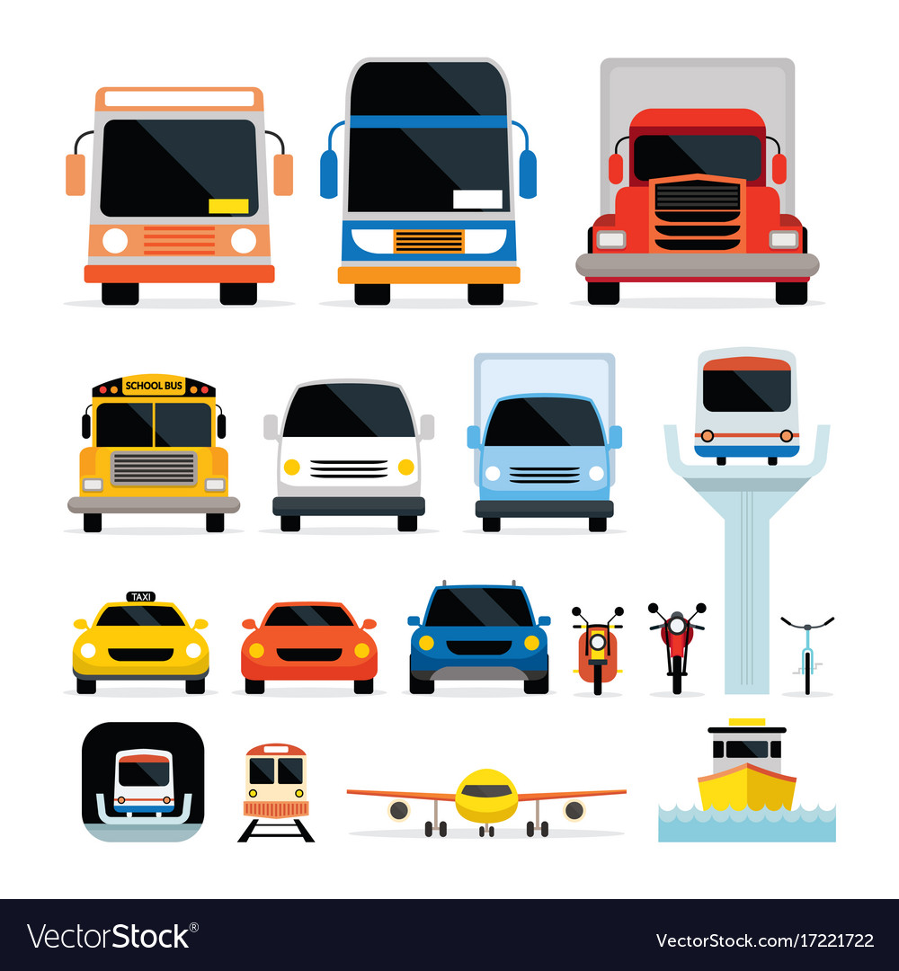 Vehicles cars and transportation in front view