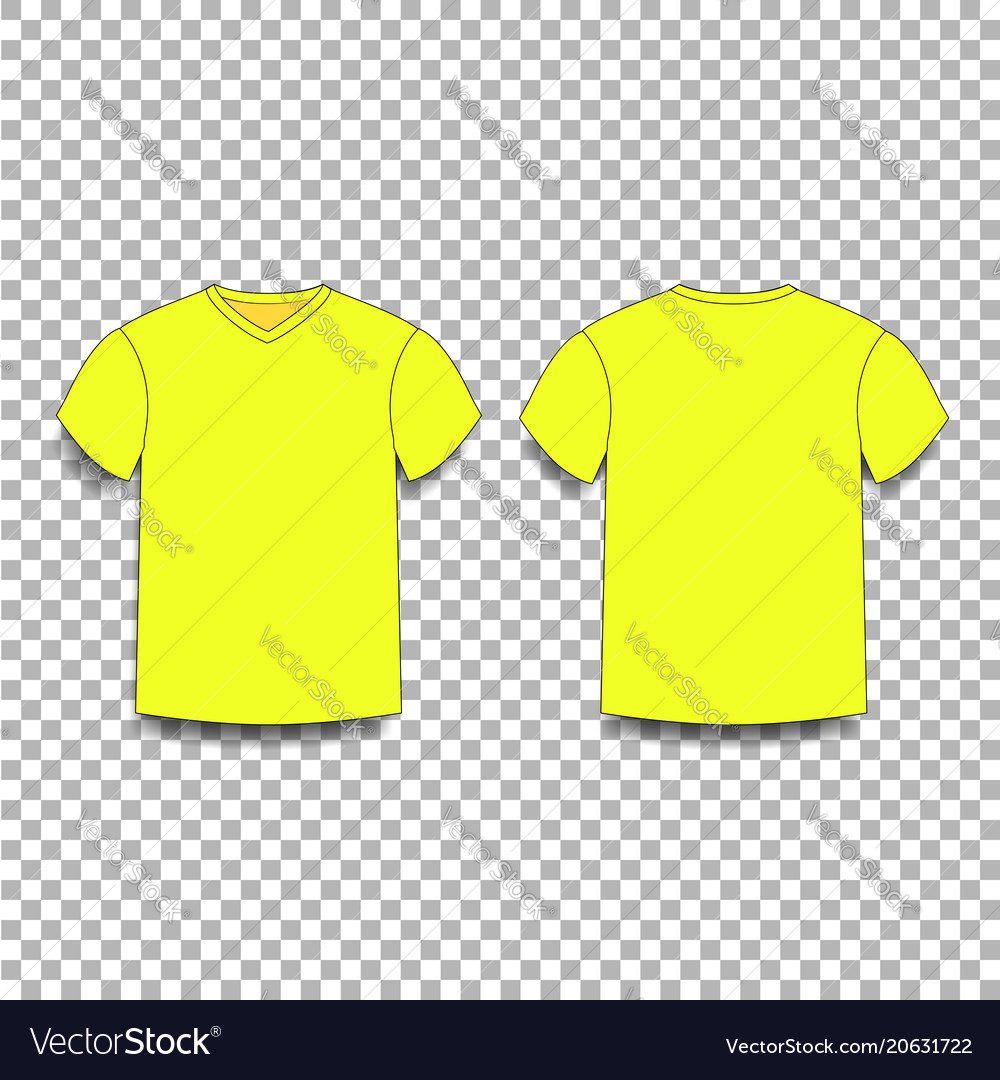Yellow men s t-shirt template v-neck front and