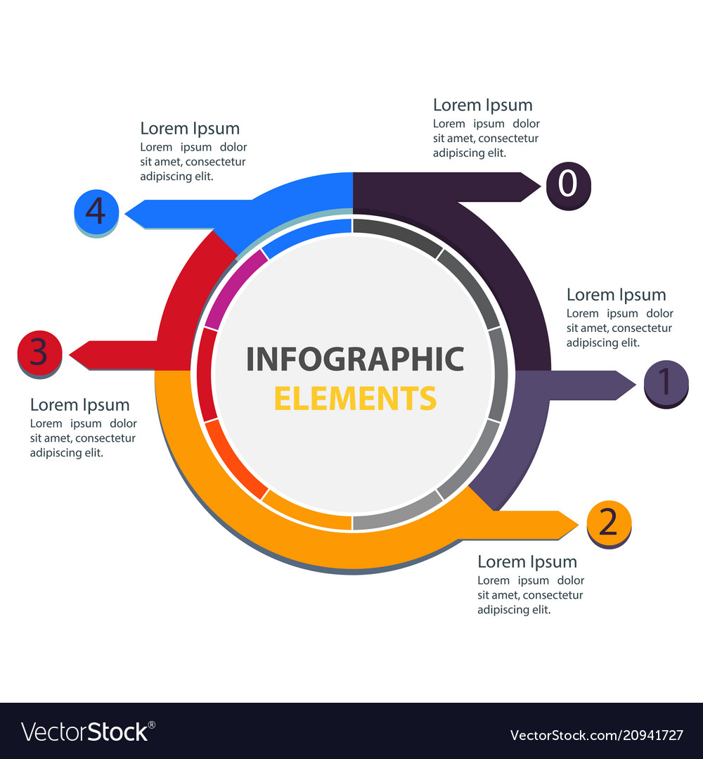 Abstract circle infographic elements with five opt