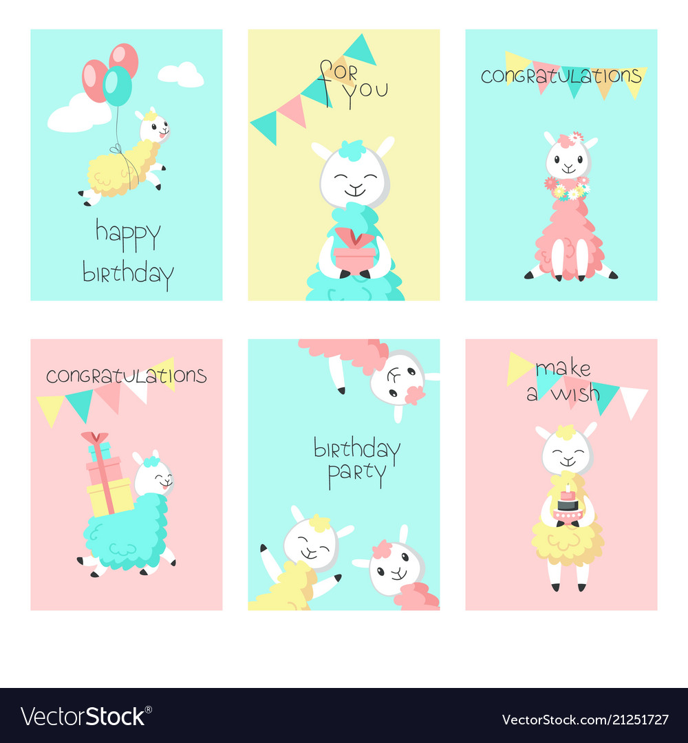 Alpaca Birthday Greeting Cards Vector Image
