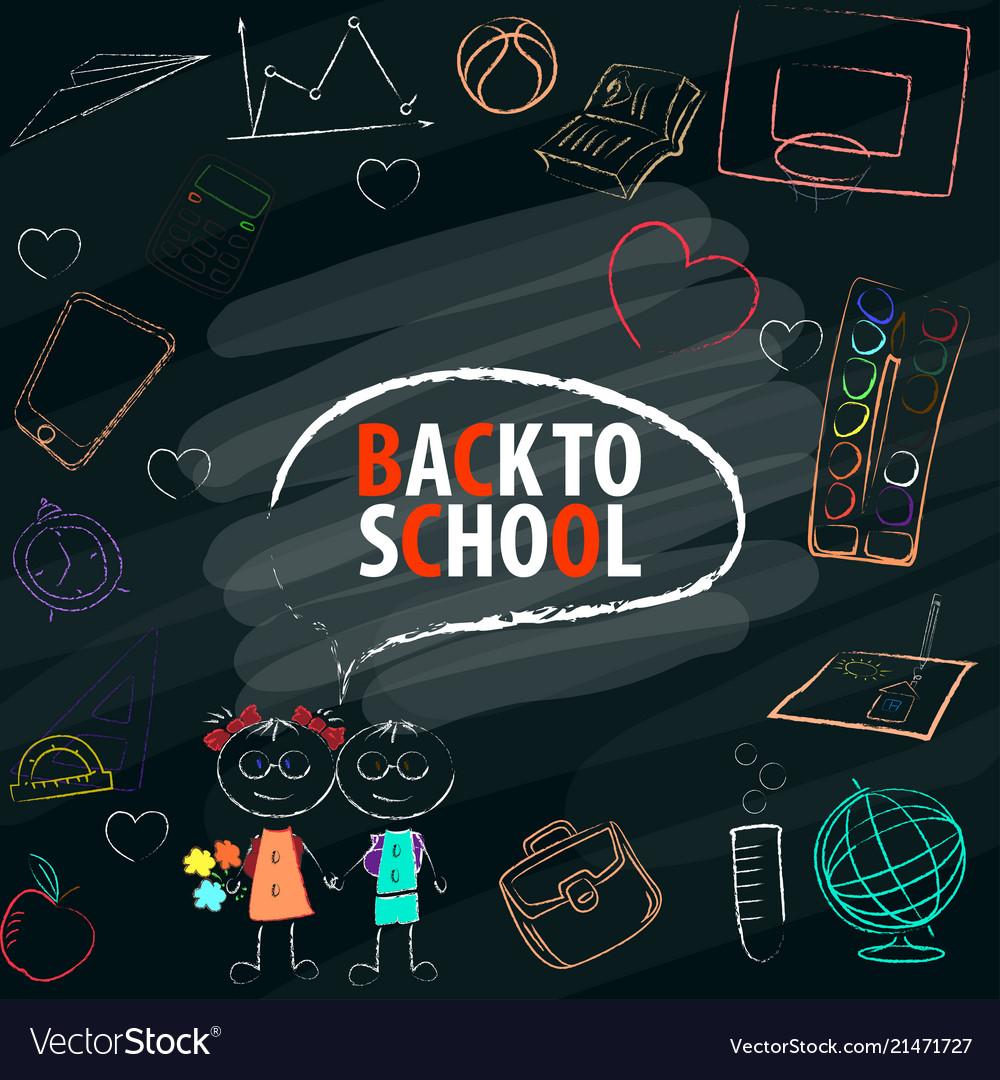 Back to school text in blackboard with school