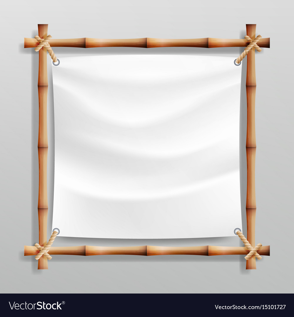 Bamboo frame with white canvas wooden Royalty Free Vector