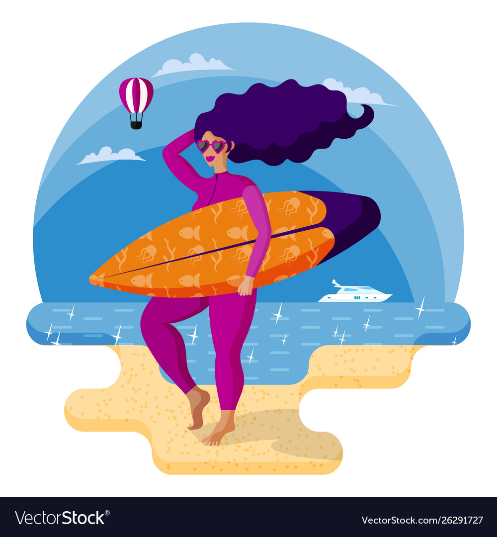 Beautiful surfer girl in pink wetsuit holding