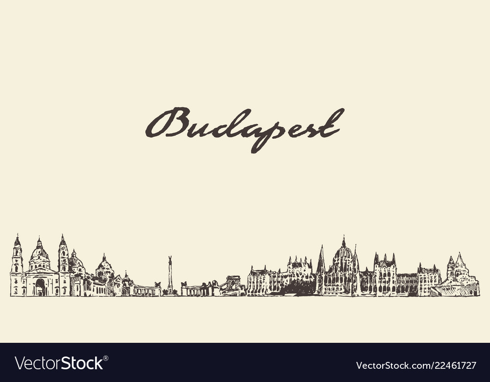 Budapest skyline hungary city drawn sketch vector