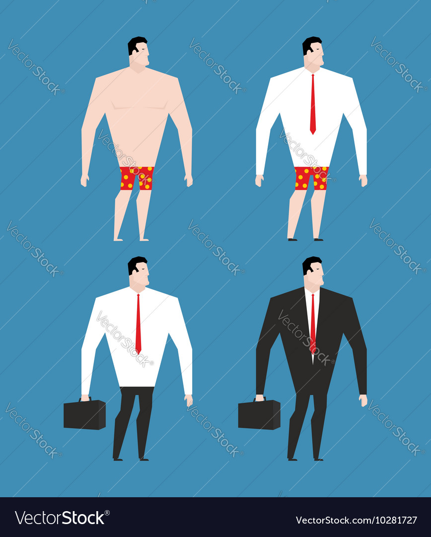 Businessman in business suit and briefcase Set man