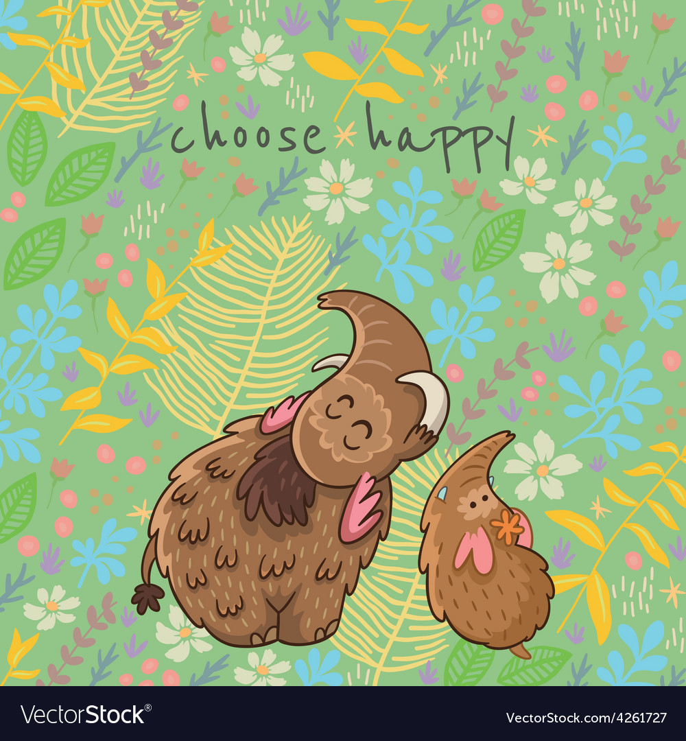 Cartoon floral card with mammoth