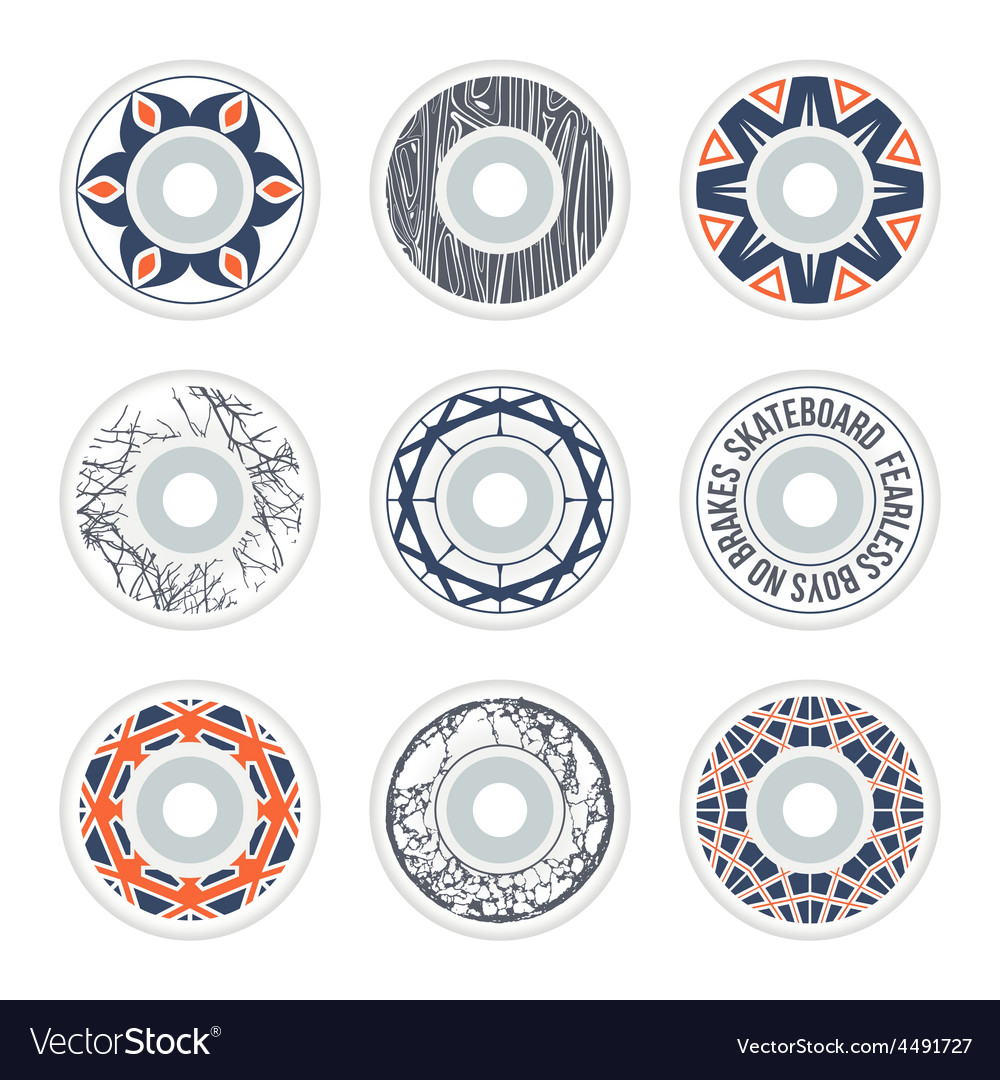 c09a0b01 Design skateboard wheels Royalty Free Vector Image