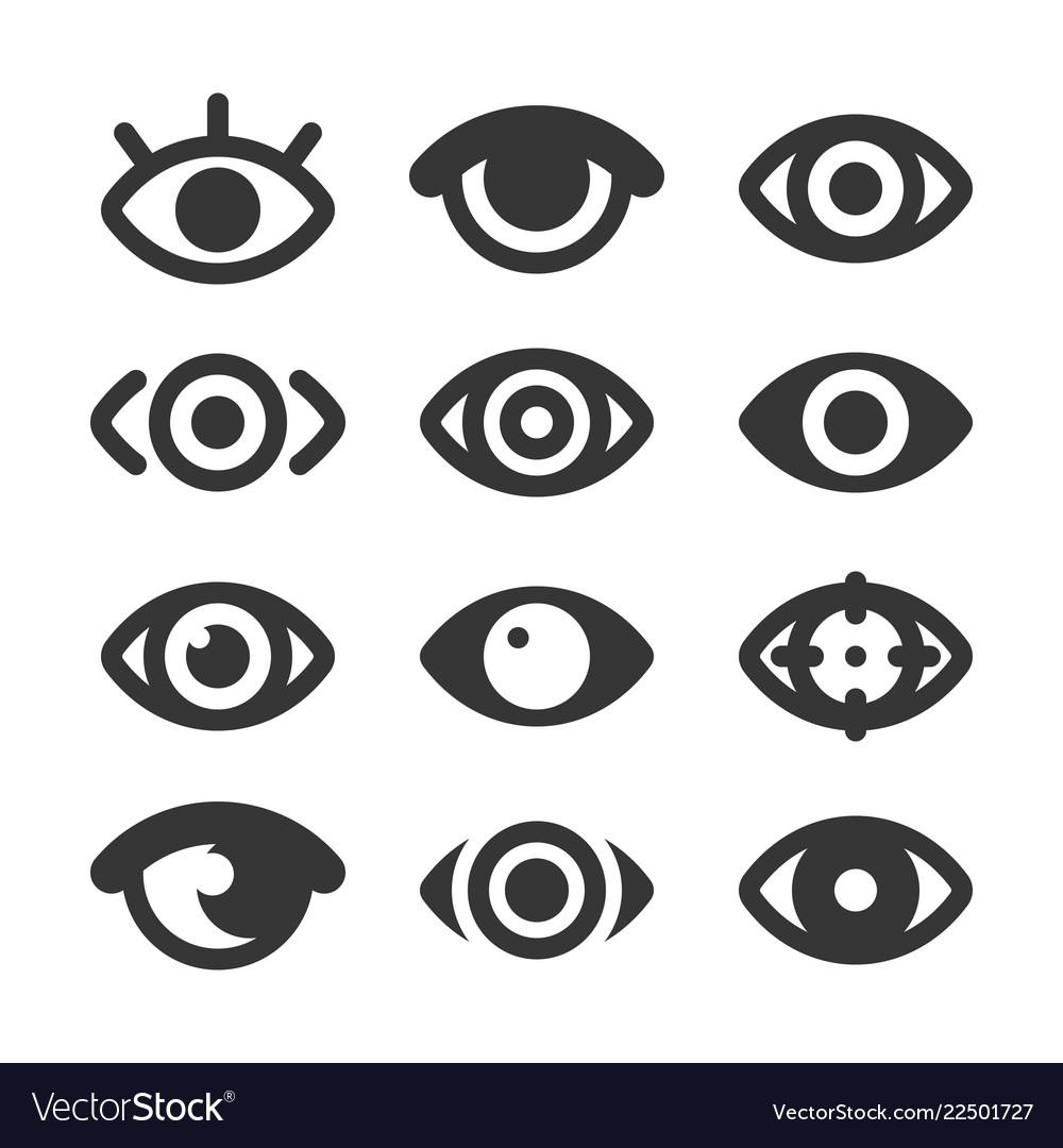 Eyes icon set isolated eye collection