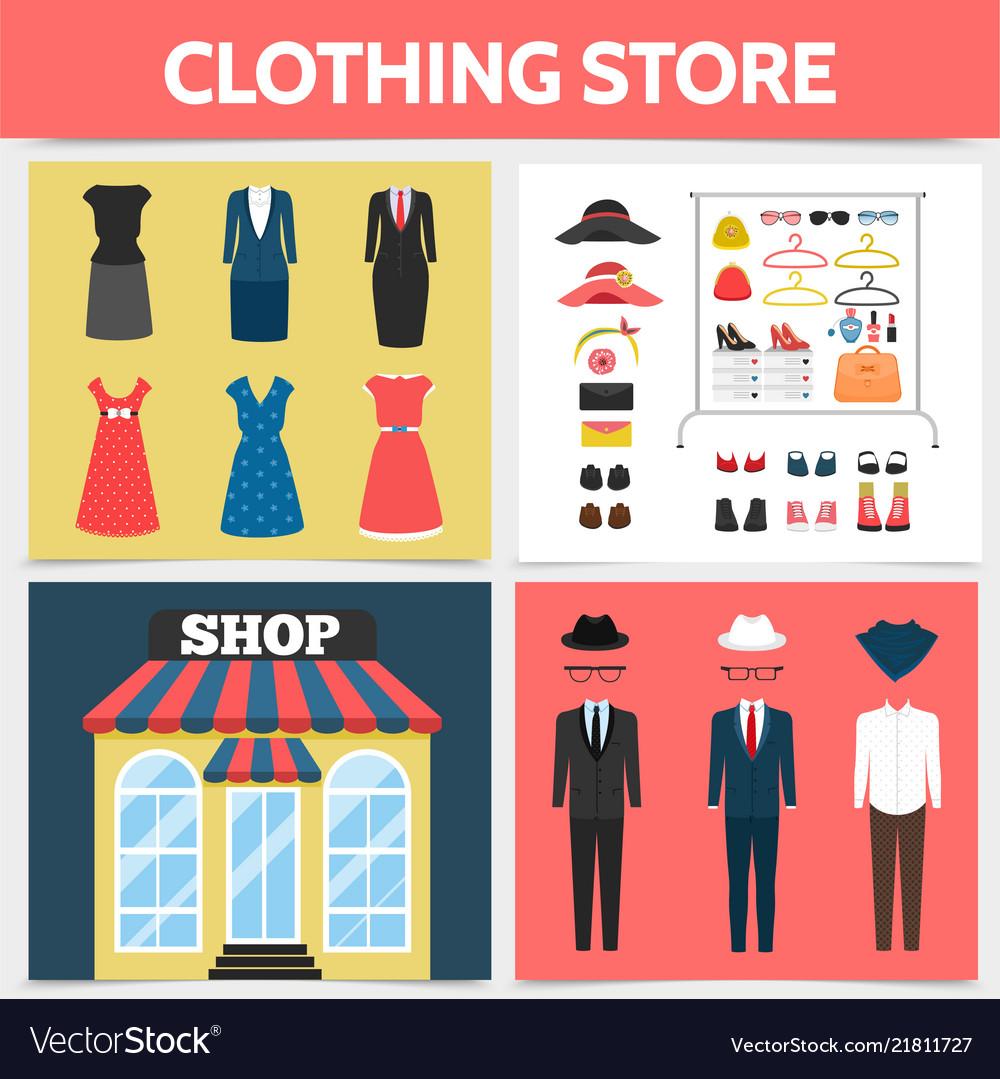 Flat clothing shop square concept