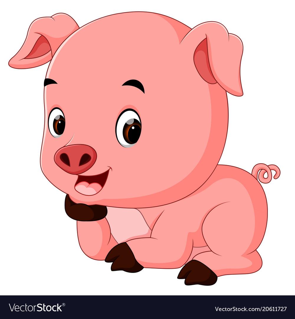 Funny pig cartoon Royalty Free Vector Image - VectorStock