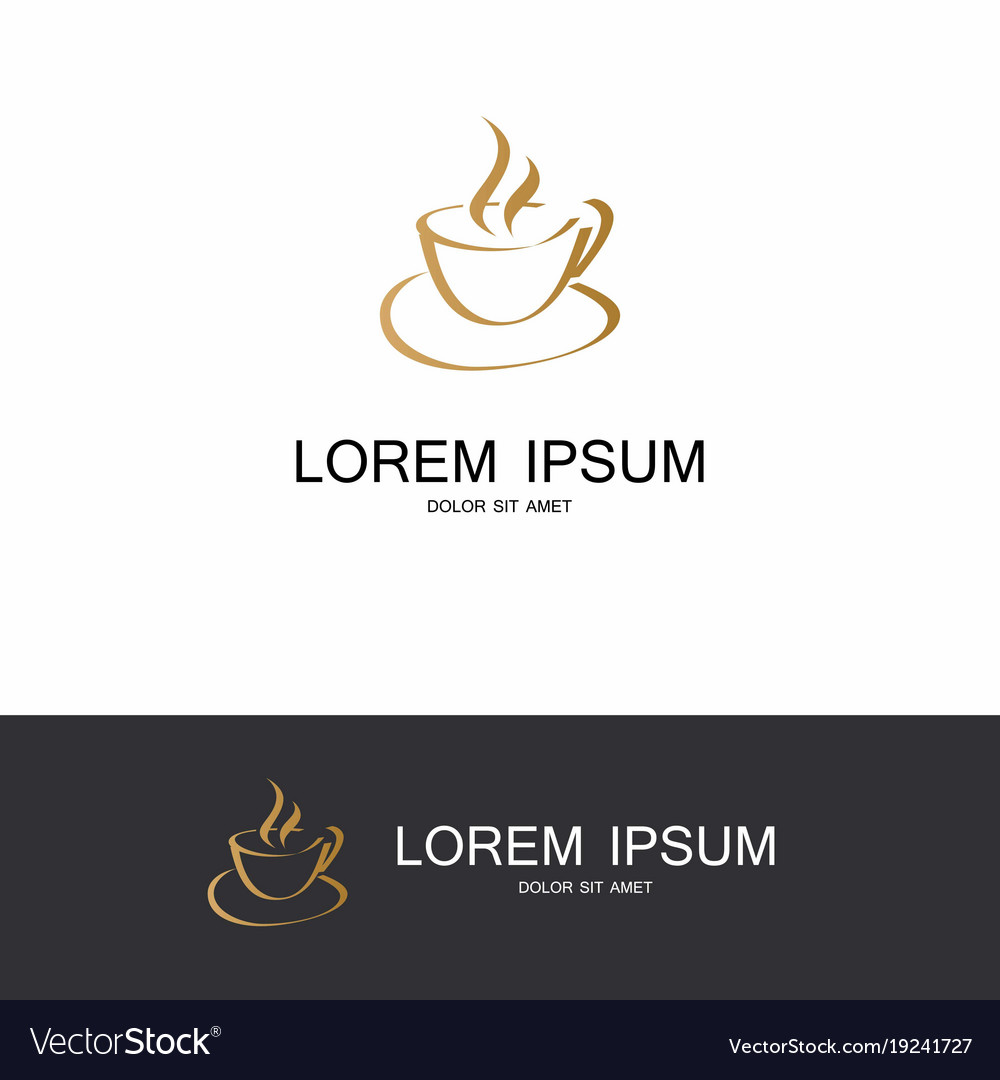Gold coffe hot abstract logo vector image