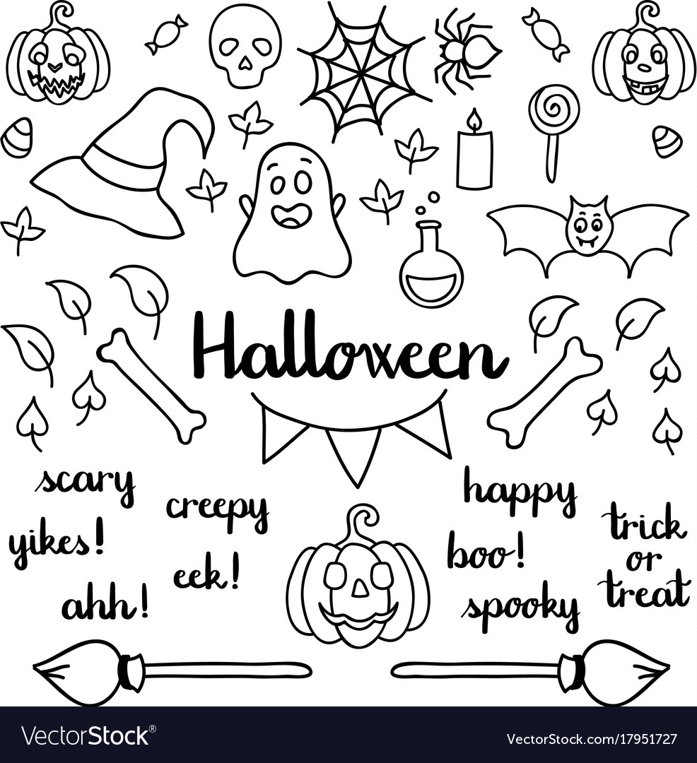 halloween set of things and words isolated doodle vector image