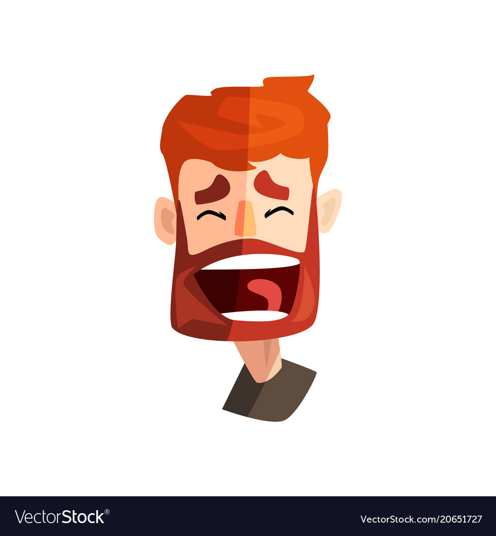 Happy laughing redhead bearded man male emotional