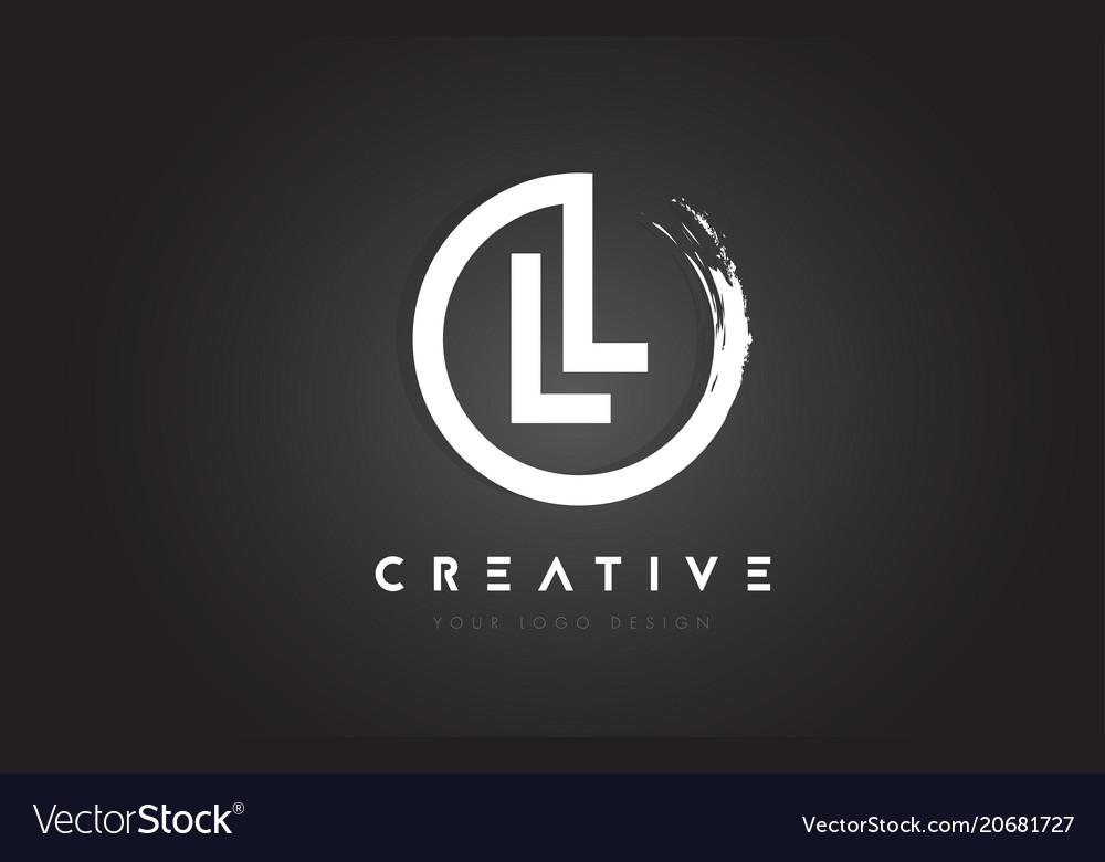 Ll circular letter logo with circle brush design
